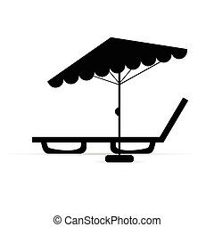deckchair with umbrella relax in black illustration -...
