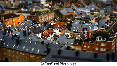 Tilt-shift panoramic aerial view of Namur, spring day,...