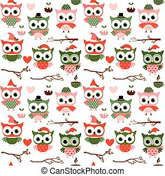 Cute Christmas and winter vector seamless pattern with cartoon owls, hearts and branches in red, green and pink colors on white background