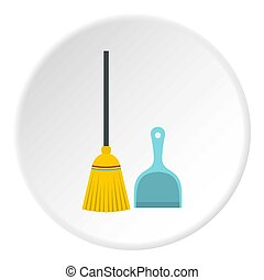 Broom and dustpan icon circle - Broom and dustpan icon in...