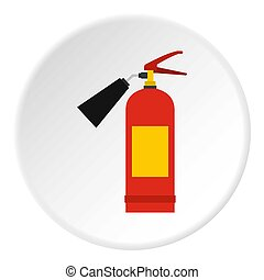 Red fire extinguisher icon circle - Red fire extinguisher...