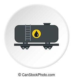 Gasoline railroad tanker icon circle