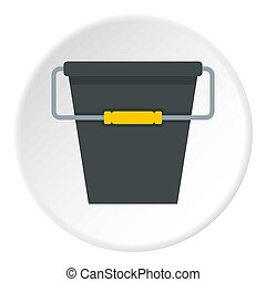 Black bucket icon circle