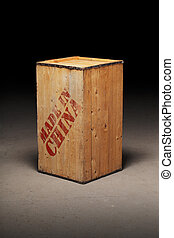 Made in China - An old wooden crate with text Made in China...