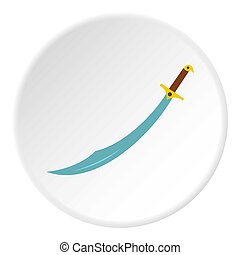 Arabian scimitar sword icon circle - Arabian scimitar sword...