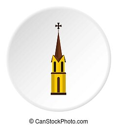 Church icon circle - Church icon in flat circle isolated...