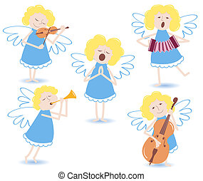 Musical angels. On a white. Vector illustration.
