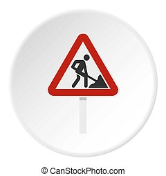 Roadworks sign icon circle - Roadworks sign icon in flat...