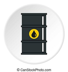 Black oil barrel icon circle