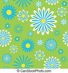 Seamless blue chamomiles pattern