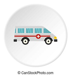 Ambulance car icon circle - Ambulance car icon in flat...