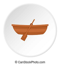 Wooden boat icon circle - Wooden boat icon in flat circle...