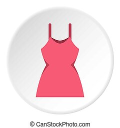 Little pink dress icon circle - Little pink dress icon in...