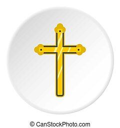 Holy cross icon circle - Holy cross icon in flat circle...