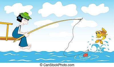 Cartoon fisher.