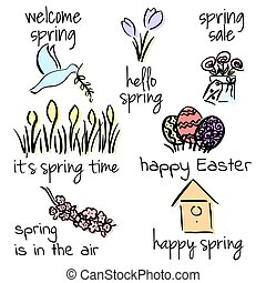 Welcome to spring set. First flowers, birds, lettering, Easter, birdhouse