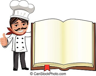 Chef thumb up gesture blank cook book isolated