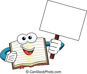 book mascot blank banner isolated - book mascot holding...