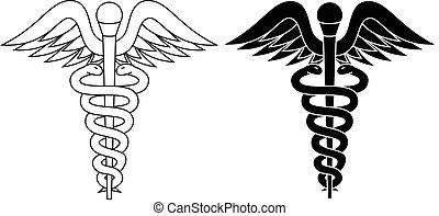 Caduceus pharmacy symbol black white isolated