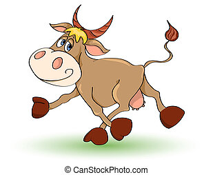 Mad cow - Cartoon mad cow Isolated on white Illustration