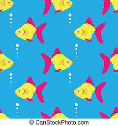 Seamless fish blue pattern. Vector illustration.