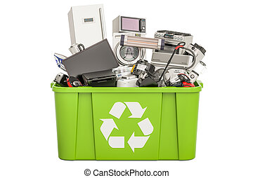 recycling trashcan with household and appliances , 3D...