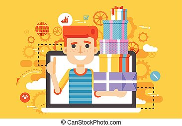 Vector illustration man thumbs up in laptop notebook with lot of shopping packing boxes of gifts in flat style
