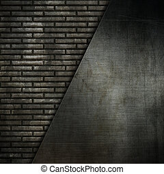 Grunge metal on a brick wall background