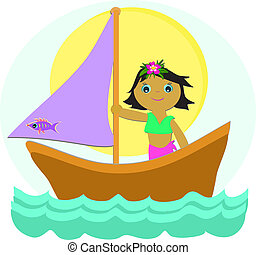 Sailboat Girl - Here is a cute tropical Girl taking a...