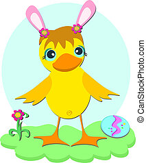 Easter Duck with Pink Ears
