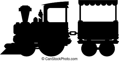 Train Silhouette - Cartoon Train and Carriage in Silhouette...