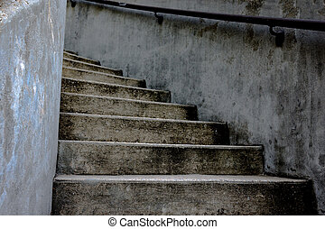 Looking up curved stairs