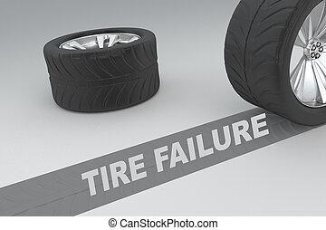 Tire Failure concept - 3D illustration of 'TIRE FAILURE'...