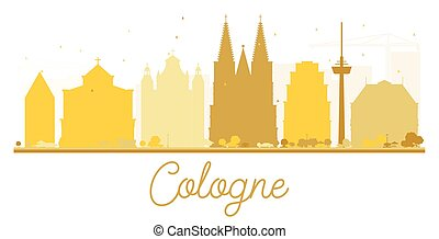 Cologne City skyline golden silhouette.
