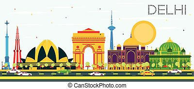 Delhi India Skyline with Color Buildings and Blue Sky.
