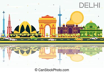 Delhi India Skyline with Color Buildings, Blue Sky and Reflections.