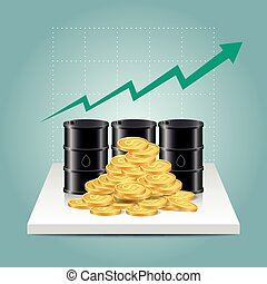 Oil industry concept. Oil price growing up graph with oil tank and dollar coins.