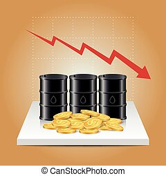 Oil industry concept. Oil price falling down graph with oil tank and dollar coins.