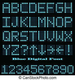 Blue Digital Font - Image of a colorful blue digital font.