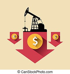 Oil industry concept. Oil price falling down arrow with petroleum pump and dollar, pound, euro coin.