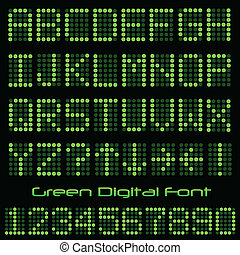Green Digital Font - Image of the alphabet and numbers in a...