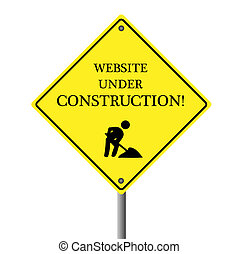 """Image of a """"Website Under Construction"""" sign isolated on a white background."""