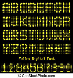 Image of a the alphabet and numbers in a yellow digital font.