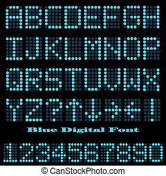 Image of a blue digital font on a dark background.