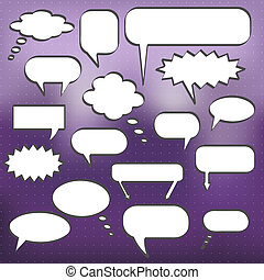 Image of various chat bubbles on a  purple background.