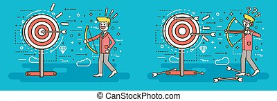 Vector illustration businessman hits target unsuccessful and successful shot from bow right wrong solution business failure or excellent marketing unlucky idea win loss start-up line art style