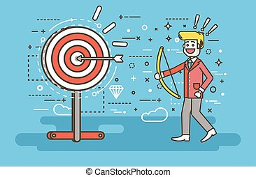 Vector illustration businessman hits target successful shot from bow advancement right solution excellent business success marketing achievement idea progress victory start-up line art style