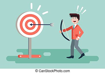 Vector illustration businessman hits target successful shot from bow advancement right solution excellent business success marketing achievement luck idea progress victory start-up in flat style
