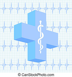 Medical background with medical cross and ecg charts