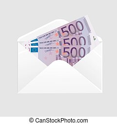 Open envelope and 500 euro bills cash